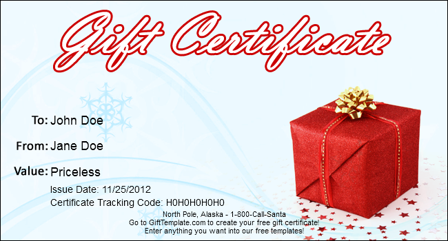 Gift template blog free gift certificate templates for Holiday gift certificate template free printable