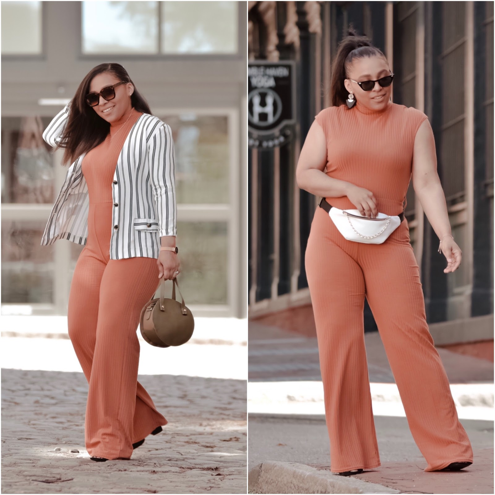 FemmeLuxe, jumpsuit, remix outfit, Coral jumpsuit, one piece, romper, streetstyle, stylish mom bloggers, summer outfit ideas, fanny pack trend