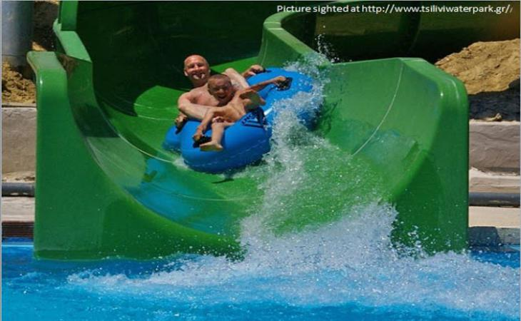 Enjoy Water slides in water parks on Zakynthos Island, Greece!