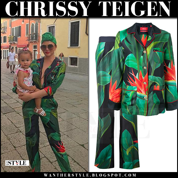 Chrissy Teigen in green floral leaf print trousers and shirt for restless sleepers august 4 2017 vacation chic style
