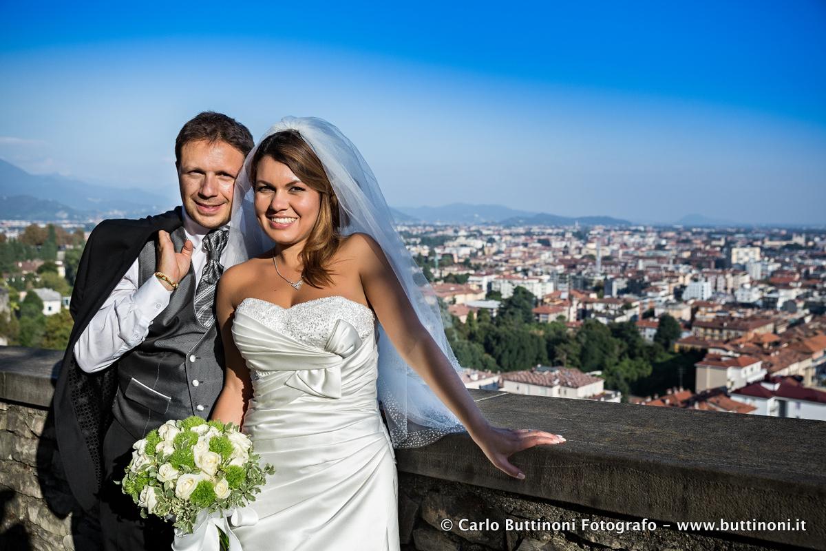 Fotografo matrimonio città alta Bergamo le mura