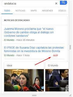 Ejemplo resultados de búsquedas de noticias en Google - móvil