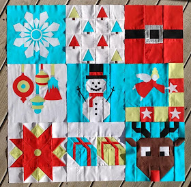 Quilt blocks 1-9 for the I Wish You a Merry QAL