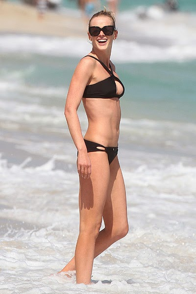 Anne Vyalitsyna on the beach in Miami