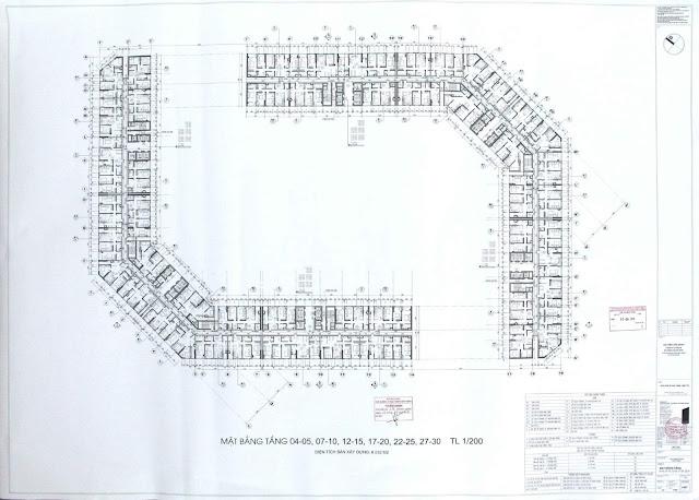 Bản cắt chi tiết mặt bằng tầng điển hình chung cư The Emerald CT8 Mỹ Đình