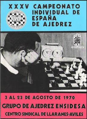 Portada del boletín del XXXV Campeonato Individual de España de Ajedrez, Llaranes-Avilés 1970
