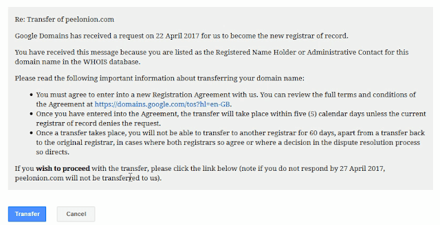 google domains transfer confirmation