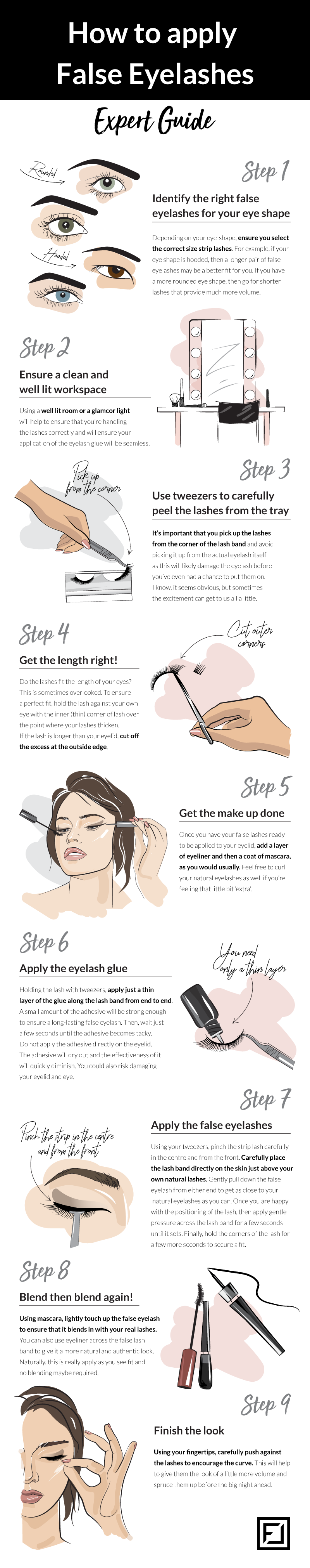 How to Apply False Eyelashes 9 Steps Expert Guide #infographic