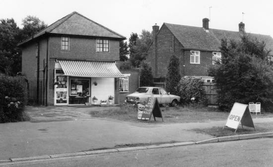 Photograph of Little Heath Stores, Hawkeshead Road, July 1985. Image from Ron Kingdon from the Images of North Mymms collection