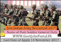 Join Indian Army Recruitment 2017–Soldier General Duty, Soldier Technical