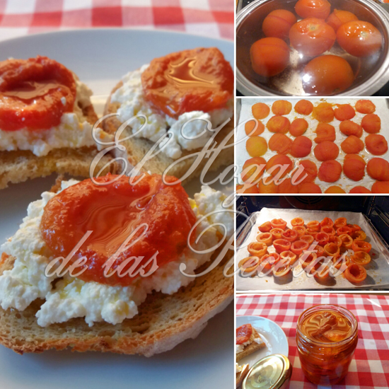 Tomates desecados en el horno de casa