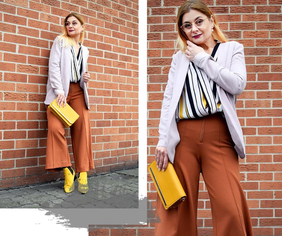 Modischer Look mit Gelb und Orange, Hose mit weiten Beinen