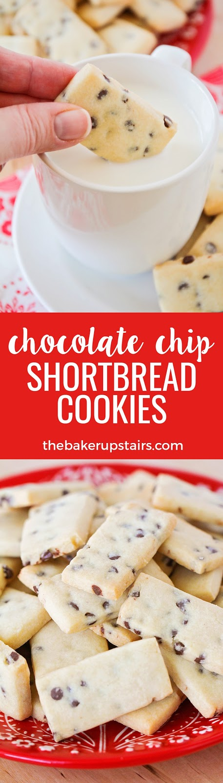 These crisp and buttery chocolate chip shortbread cookies are perfect for dunking in milk or hot chocolate!