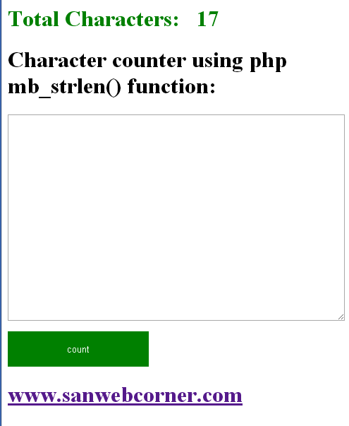 Simple Character Counter using php