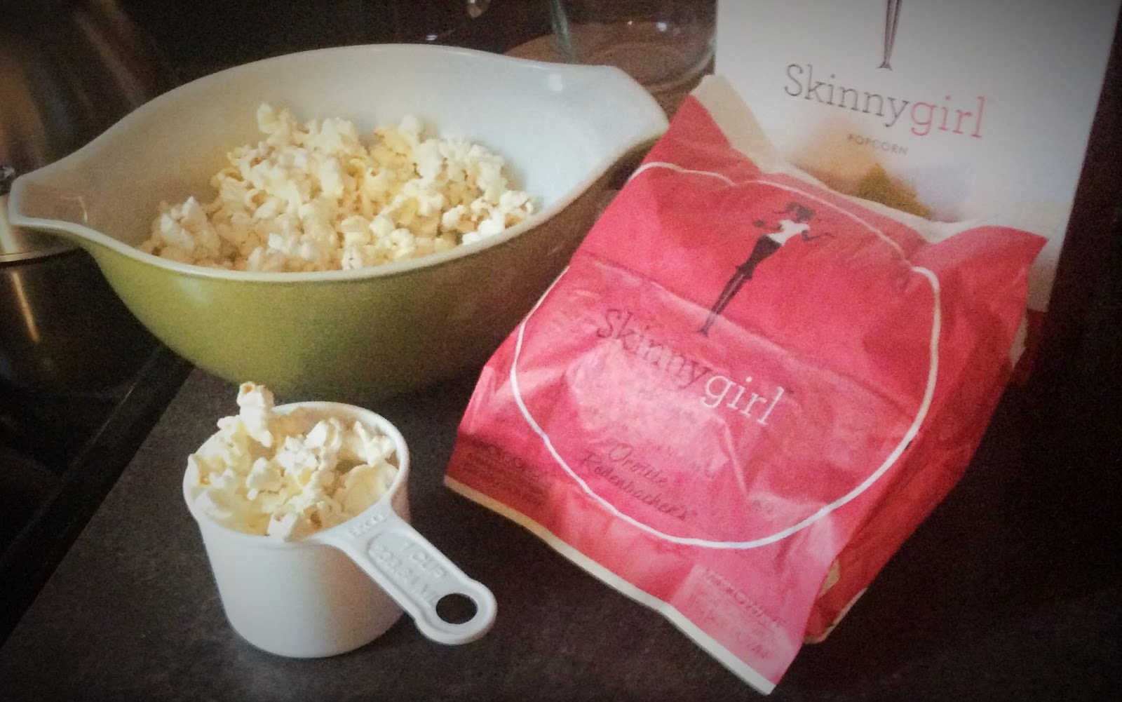 Mini-bag of lime and salt popcorn. The contents of the popped bag were  emptied into the bowl (left). One cup of popped corn (25 total calories and  10 ...