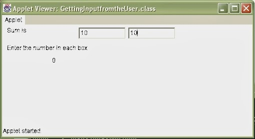 Getting Input from the User in Java Applet