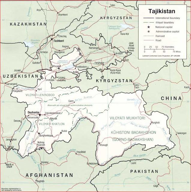 Gambar Peta politik Tajikistan