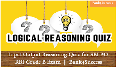 Input Output Reasoning Quiz for SBI PO/ RBI Grade B Exam
