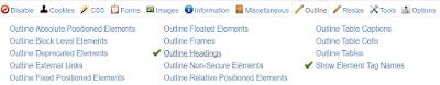 "Das Browser-Add-on ""Web Developer"" macht Heading Tags sichtbar."