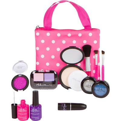 ca8efa51c The makeup is fake, but looks 100% real! Pretend Play Makeup Kit. Designer  Girls Beauty Basics 12 Piece Polka Dot Handbag Set $21.95