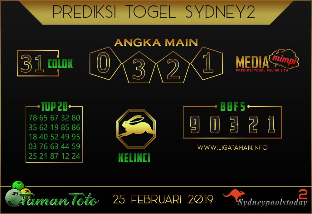 Prediksi Togel SYDNEY 2 TAMAN TOTO 25 FEBRUARI 2019