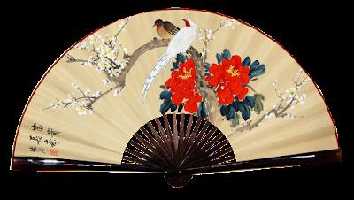 Abanico japones con impresion de pajaros y flores