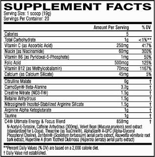 Ingredientes de Cellucor C4 Ultimate