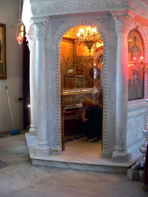 Small shrine inside the church,  containing the remnants of St. Demetrius