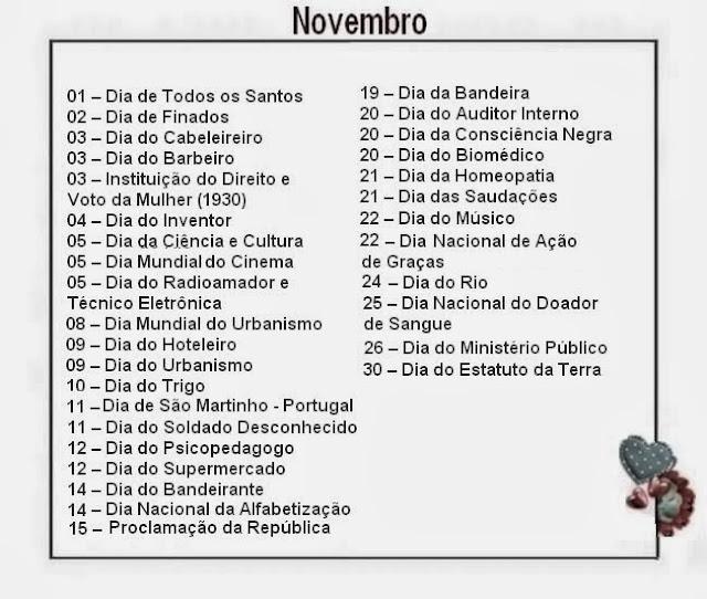 Resultado de imagem para datas comemorativas de novembro