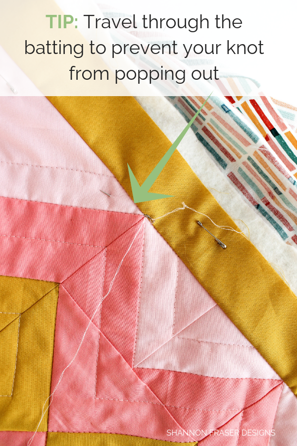 Tip - travel through the batting | How to bury quilt threads + 5 top tips | Quilting Tutorial | Shannon Fraser Designs