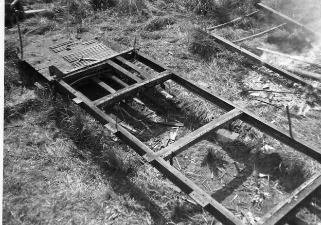 The frame of the broken up tram.