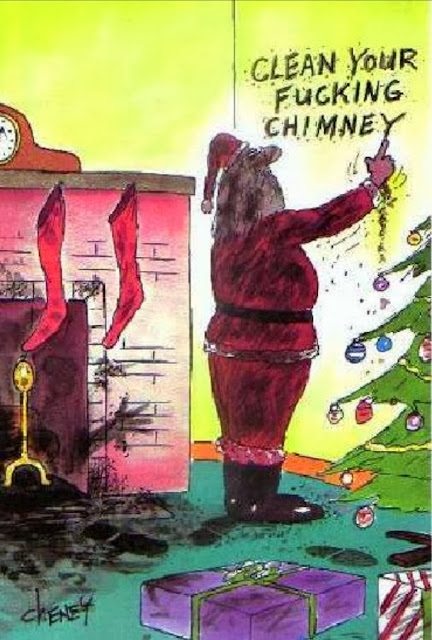 Father Christmas Cartoon - Clean your f*cking chimney