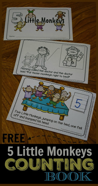 FREE 5 Little Monkeys Counting Book is a fun way for preschool, prek, and kindergarten age kids to practice counting and learning language with this nursery rhymes activity.