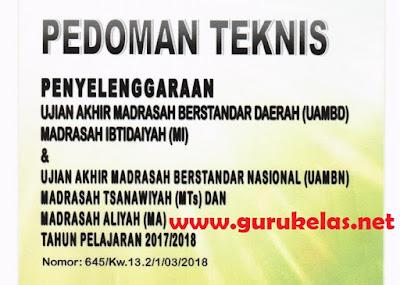 Download Pedoman JUKNIS Penyelenggaraan UAMBD UAMBN MI, MTs, MA 2018