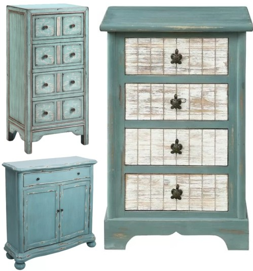 Blue Coastal Accent Cabinet Drawer Chest