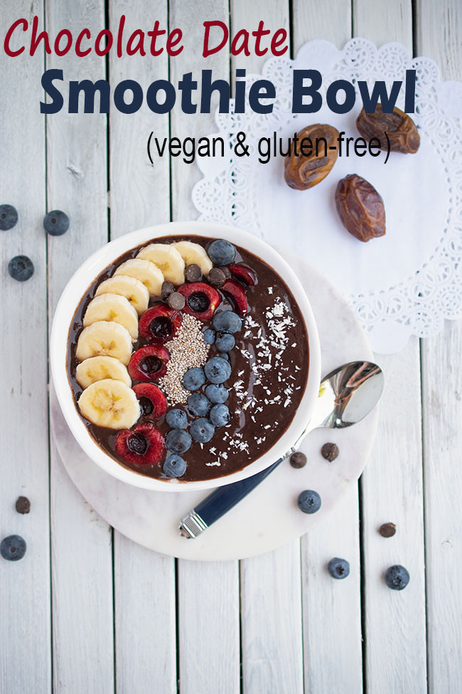 Vegan and gluten-free Chocolate Date Smoothie Bowl with toppings with text overlay