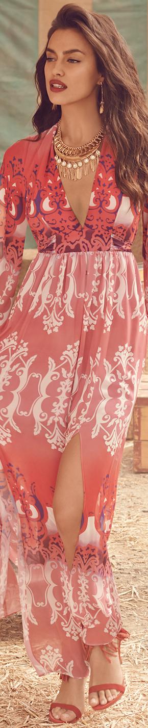 Irina Shayk Bebe Print Slit Maxi Dress