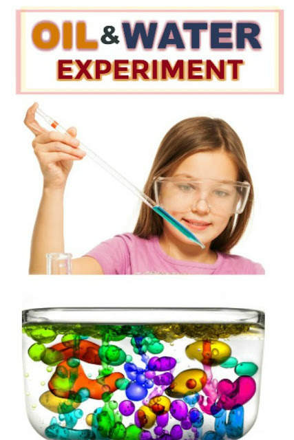 FUN SCIENCE FOR KIDS:  Oil & Water Experiment.  Great for all ages! #scienceexperimentskids #sciencefairprojects #scienceexperiments #scienceexperimentsforkids #oilandwaterexperiment #experiementsforkids #craftsforkids #activitiesforkids #playrecipesforkids