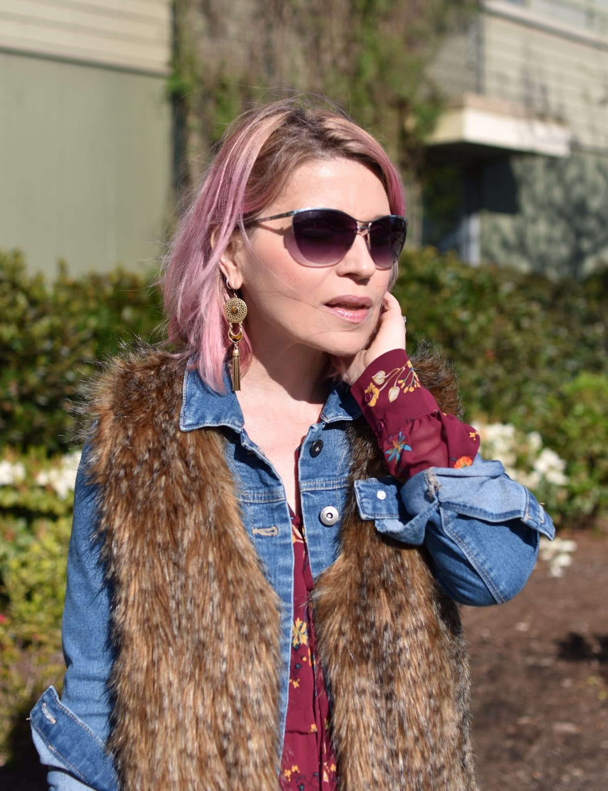 Monika Faulkner outfit inspiration - floral maxi dress, denim jacket, faux-fur vest, sunglasses