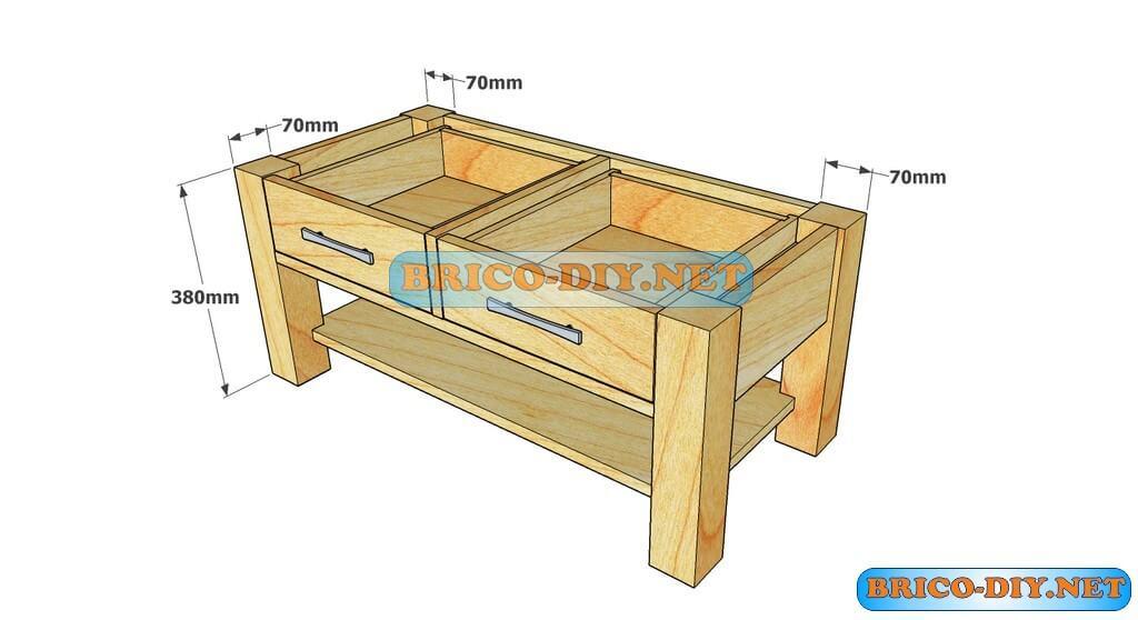 Plano como hacer mesa de centro madera web del bricolaje for Mesas esquineras de madera