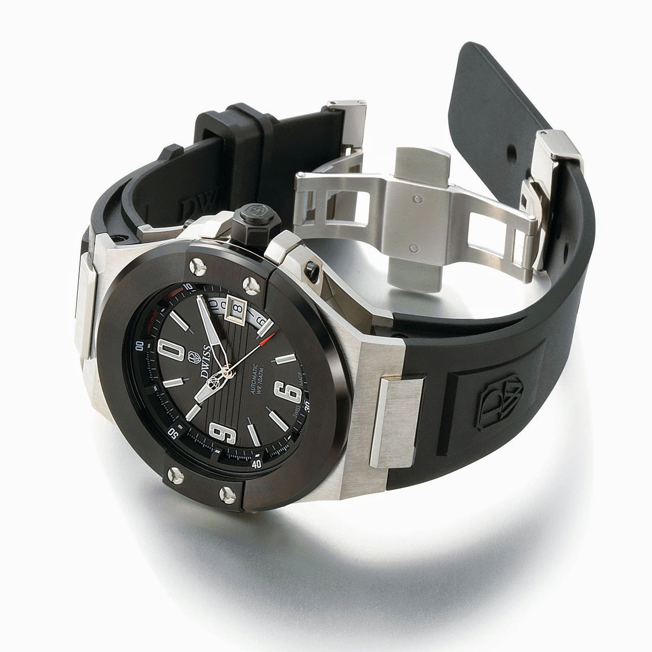 DWISS Emme Silver Black Automatic Watch