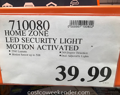 Deal for the Home Zone Motion Activated Security LED Light at Costco