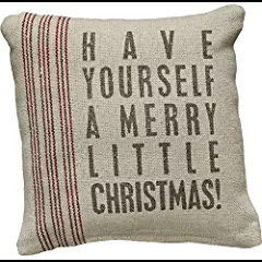 Vintage Flour Sack Style Merry Little Christmas Holiday Throw Pillow #haveyourselfamerrylittlechristmas #christmasmusic #learnyourchristmascarols #christmasdecor available on Amazon