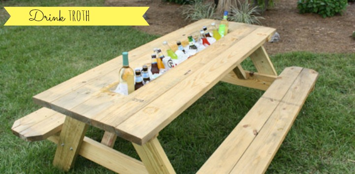 Drink troth picnic table