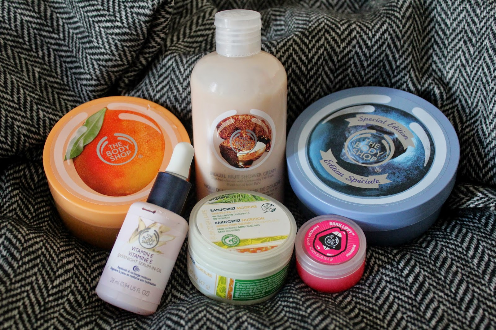 brand favourites body shop scrub body lotion butter vitamin e