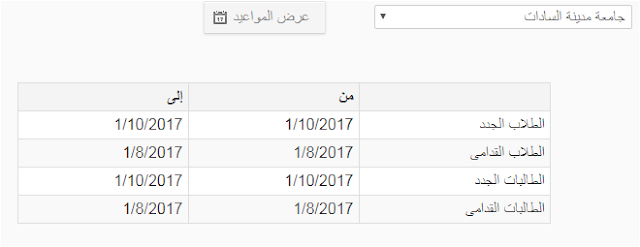 مواعيد التقدم للمدينه الجامعيه جامعة مدينة السادات 2017/2018