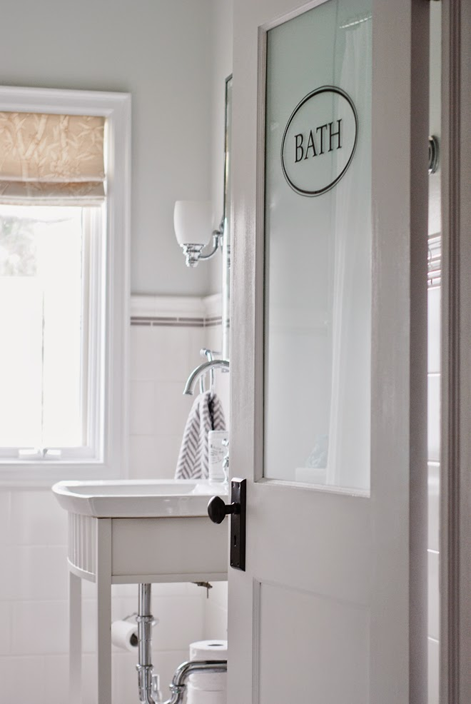 Rambling Renovators | new traditional bathroom black white frosted door