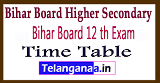 BSEB 12th Exam Time Table