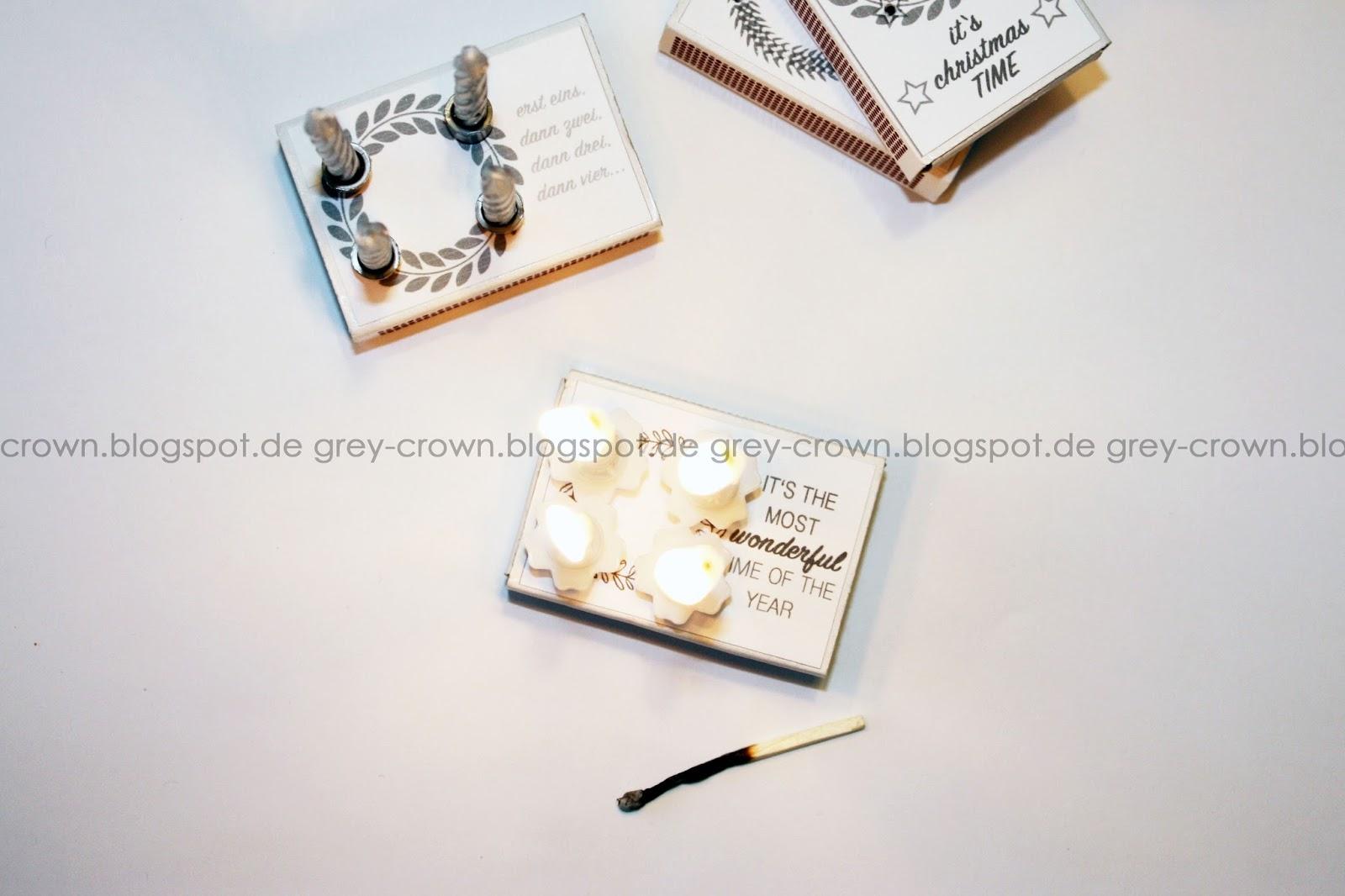 grey crown mini adventskranz. Black Bedroom Furniture Sets. Home Design Ideas