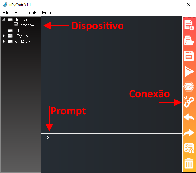 Detalhe IDE uPyCraft